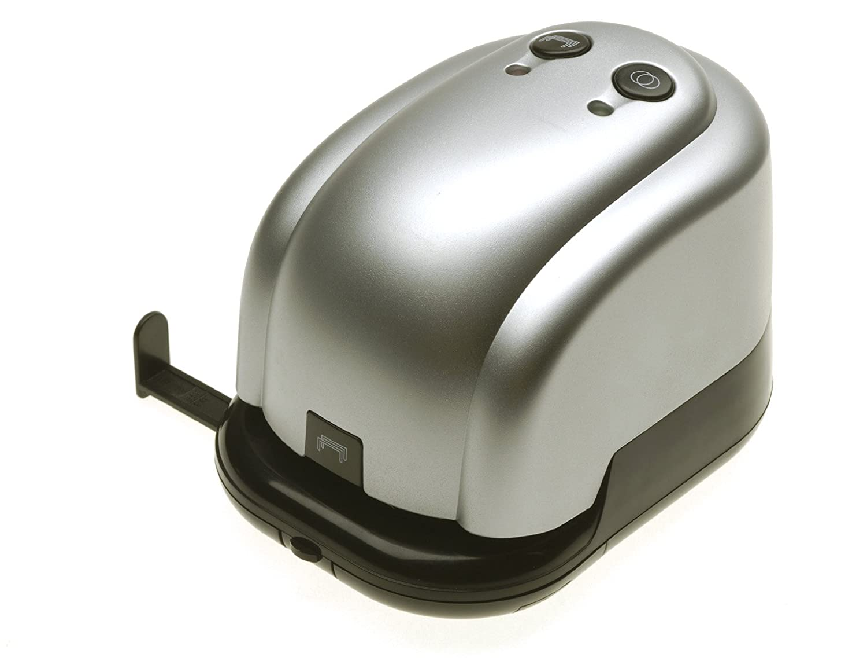 Genie 6031 LH - Perforatore elettrico, 14 fogli, pinzatrice, 20 fogli con guida, incluso alimentatore, colore: Argento/nero Dieter Gerth GmbH