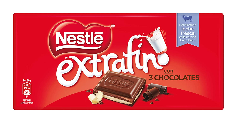 NESTLÉ EXTRAFINO 3 Chocolates Chocolate Blanco negro y con Leche - Tableta de Chocolate 120g: Amazon.es: Amazon Pantry