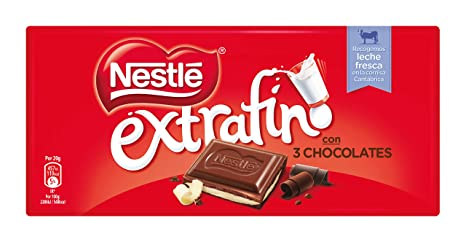 NESTLÉ EXTRAFINO 3 Chocolates Chocolate Blanco Negro y con Leche - Tableta de Chocolate