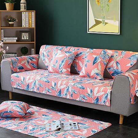 American Country - Cojín de sofá floral,combinación de tela de algodón,funda deslizante,loveseat,funda de sofá acolchada,funda de sofá lavable con espuma antideslizante,flowers,90x90CM(35