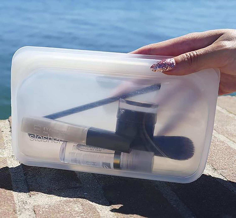Stasher CL-SM&L-01 Bolsa de Silicona Reutilizable para Cocinar, Congelar, Almacenar y Viajar, 2 Unidades, Transparente