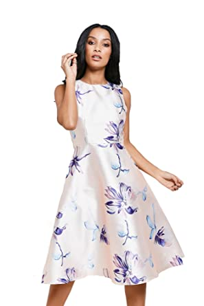 058f34fb05 AX Paris Pink Floral Print High Shine Skater Dress From Brand Attic ...