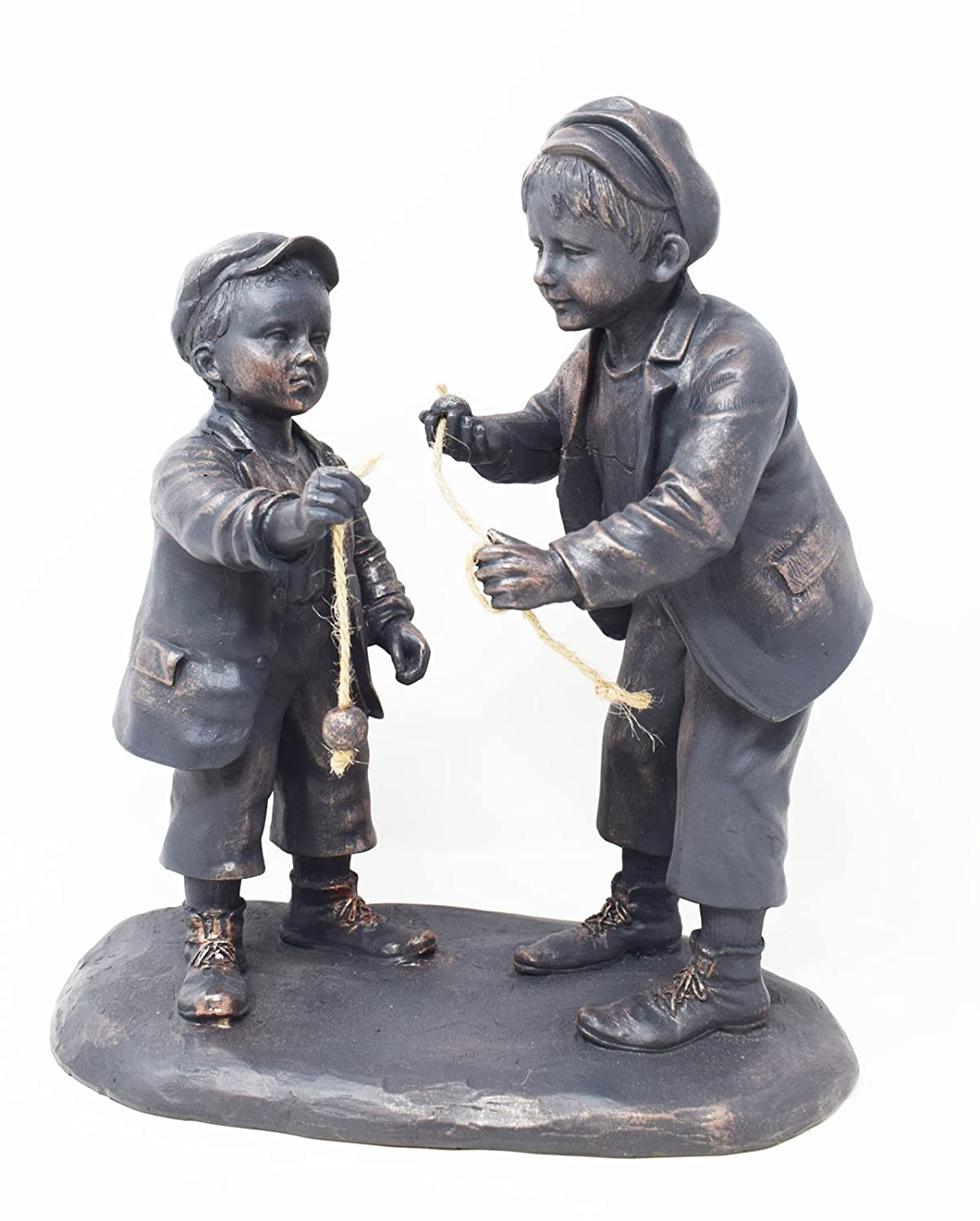 Bronze Colour Boys Playing Conkers Garden Ornament, Indoor Outdoor Use Flame