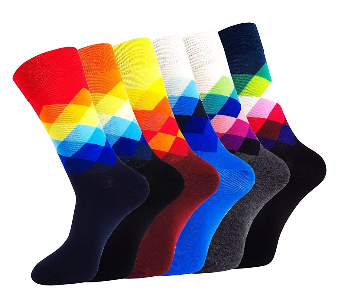 WEILAI SOCKS 6 Pack Men Dress Socks - Funky Colorful Socks For Men Cotton Crew Socks