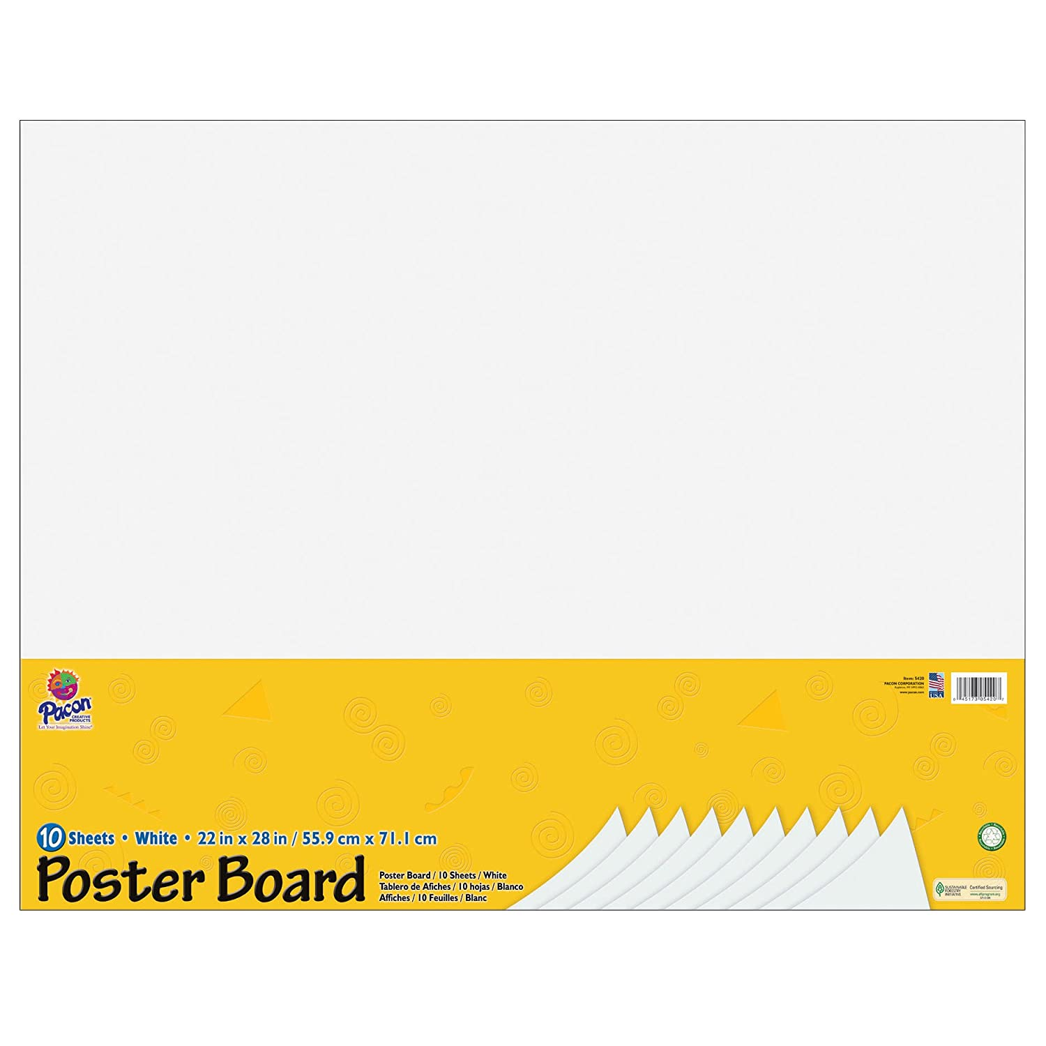 Pacon PAC5420 Rail Road Board Packs, 22 x 28, White(100 Sheets) 22 x 28
