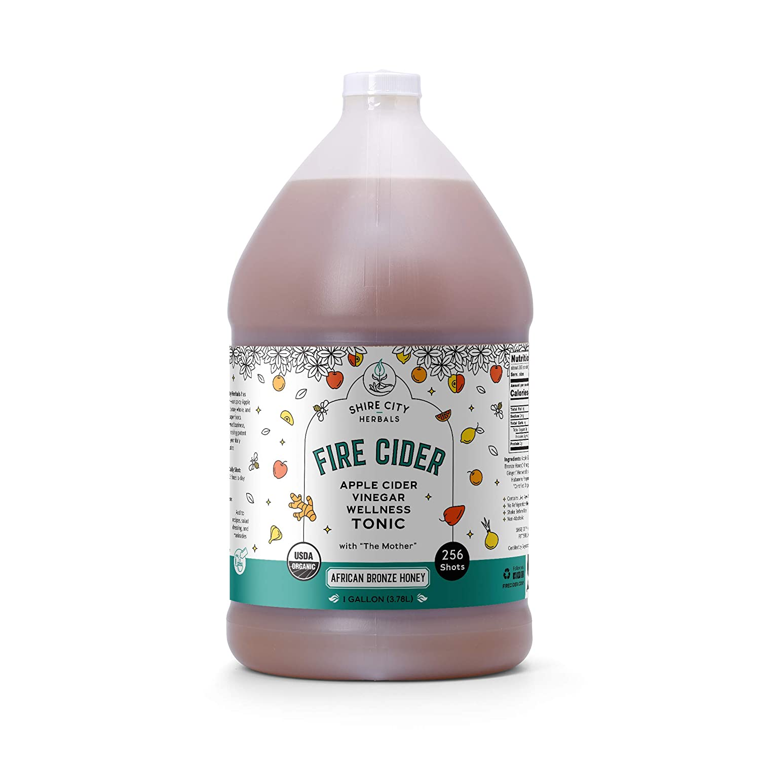 Fire Cider, Tonic, 128 oz (gallon), African Bronze flavor, 256 Daily Shots, Apple Cider Vinegar, Whole, Raw, Organic, Not Heat Processed, Not Pasteurized, Not Diluted, Paleo, Keto, Whole 30.