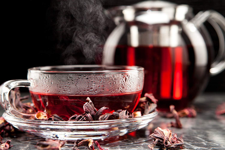 Hibiscus Tea 1LB (16Oz) 100% CERTIFIED Organic Hibiscus Flowers Herbal Tea (WHOLE PETALS), Caffeine Free in 1 lbs