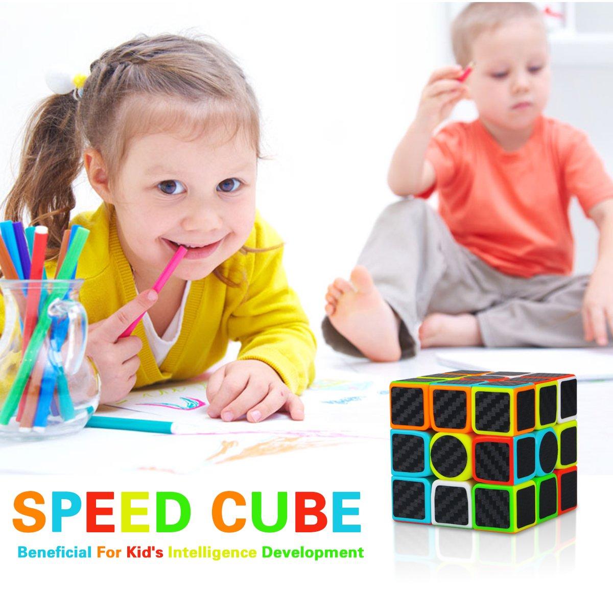 Aiduy 3x3x3 Zauberwürfel Speed Cube Kohlefaser Aufkleber für Smooth Magic Würfel Puzzles