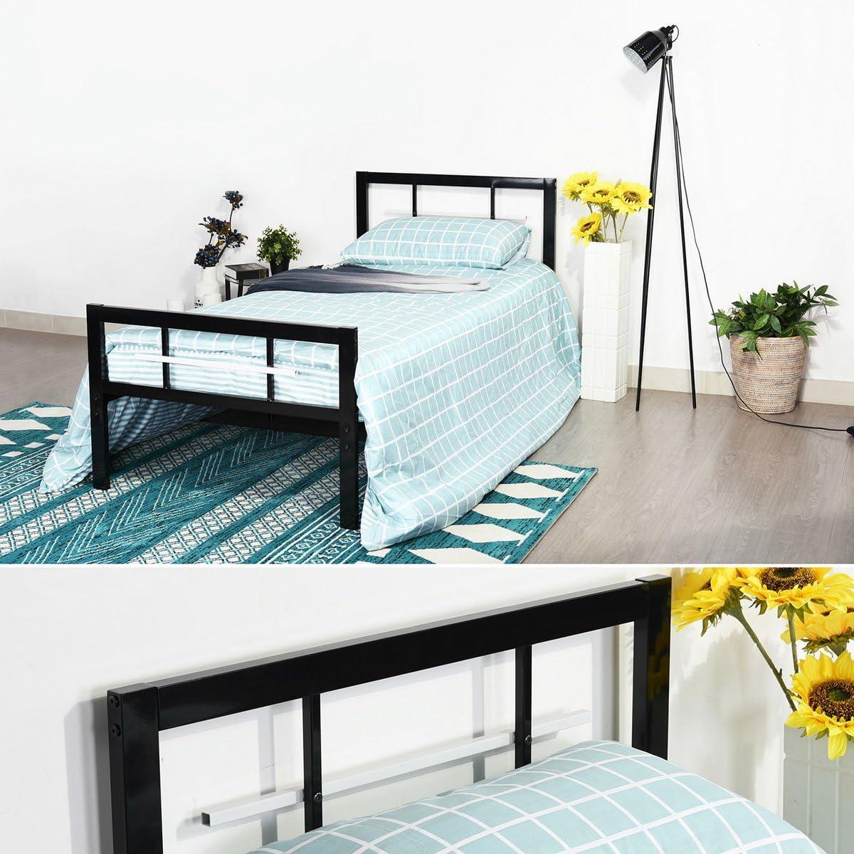cm Noir. Aingoo lit Simple en m/étal avec t/ête et Pied de lit pour Les Enfants et Les Adultes,90 * 190