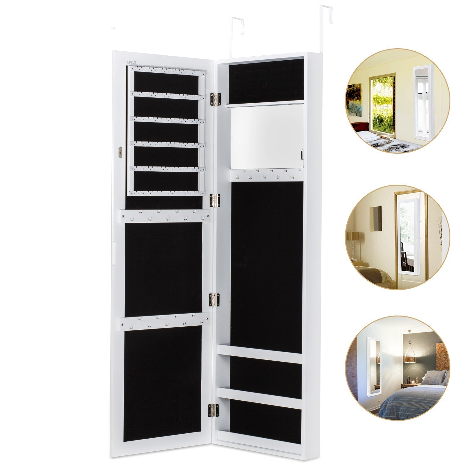HERRON Wall Jewelry Cabinet Armoire with Mirror, Door or Wall Mounted Jewelry Box to Store Jewelry for Women,White