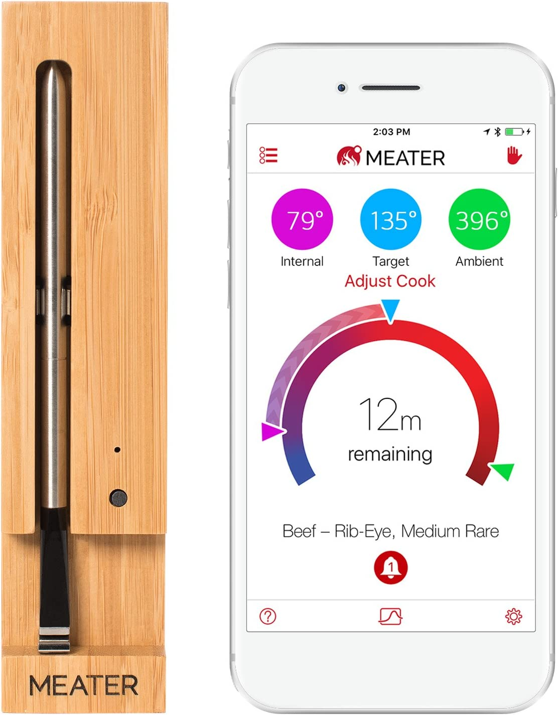 Best Bluetooth Meat Thermometer-Best original smart wireless meat thermometer: MEATER Up to 33 Feet
