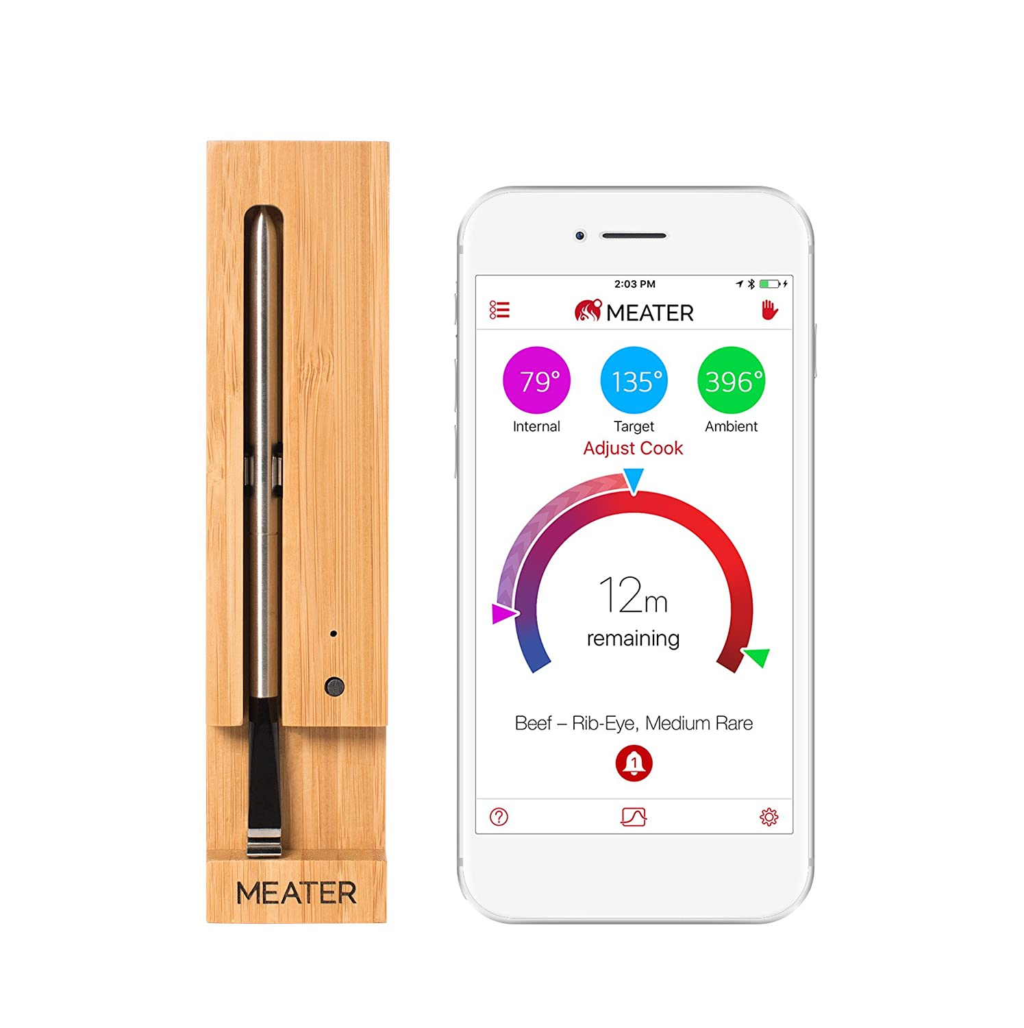 MEATER | The Original True Wireless Smart Meat Thermometer for the Oven Grill Kitchen BBQ Smoker Rotisserie with Bluetooth and WiFi Digital Connectivity Apption Labs OSC-MT-ME01