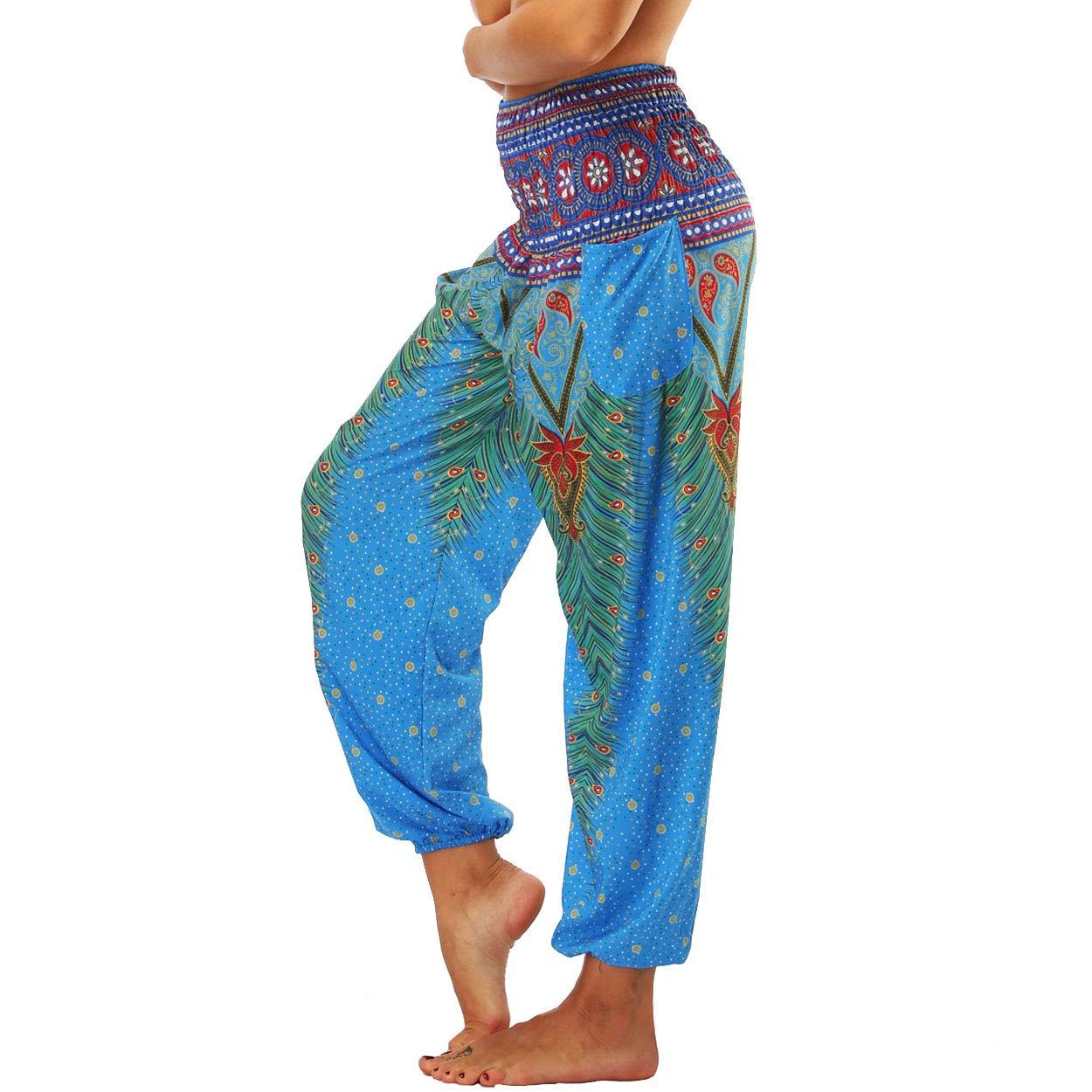 Nuofengkudu Dame Hippie Hose Pumphose Haremshose Boho Gemustert Gesmockte Taille mit Taschen Freizeithose Sommerhose Yogahose