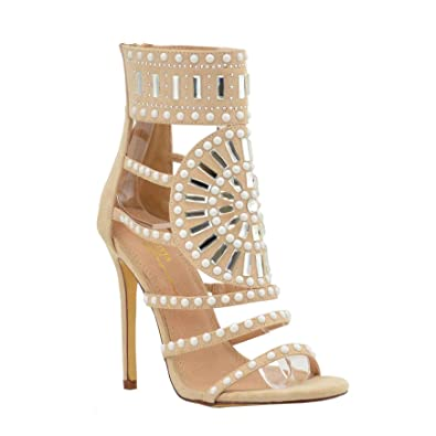 6a633a7c032fcd Olivia and Jaymes OJ Embellished Sparkly Open Toe High Heel Ankle Strap  Rhinestone Sandals for Women