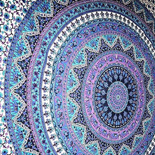 Indian-hippie-beach-blanket Bohemian-psychedelic-mandala Wall-hanging-tapestry-dorm Twin-size