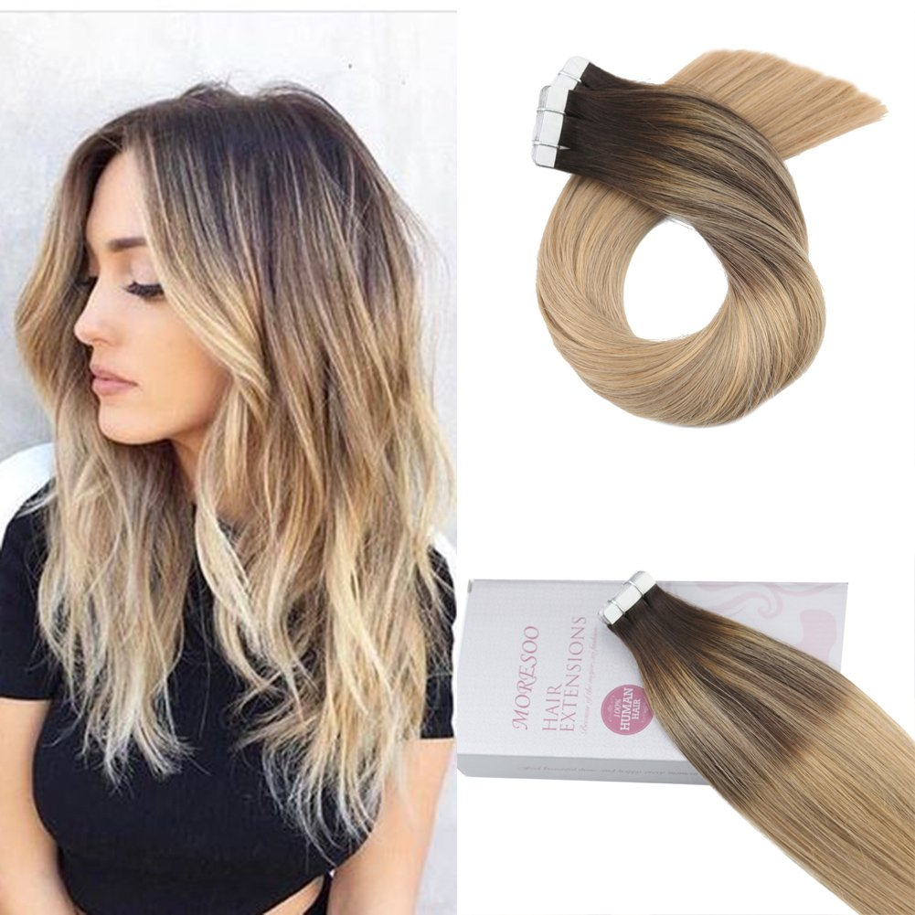 Amazon Moresoo 24 Inch Tape In Hair Extensions Ombre Human