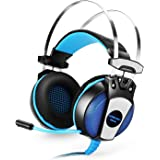 GranVela GS500 Gaming Headset 3.5mm Wired Over Ear Stereo Headphone with Microphone, Noise Isolation for PS4/Notebook/Laptop - Blue
