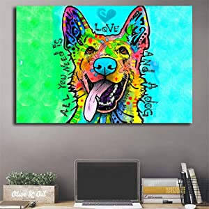 Yxjj1 German Shepherd Dean Russo Wall Art Canvas Posters Prints Painting Wall Pictures for Office Bedroom Home Decor-60x90cm(23.6x35.4inch) no Frame