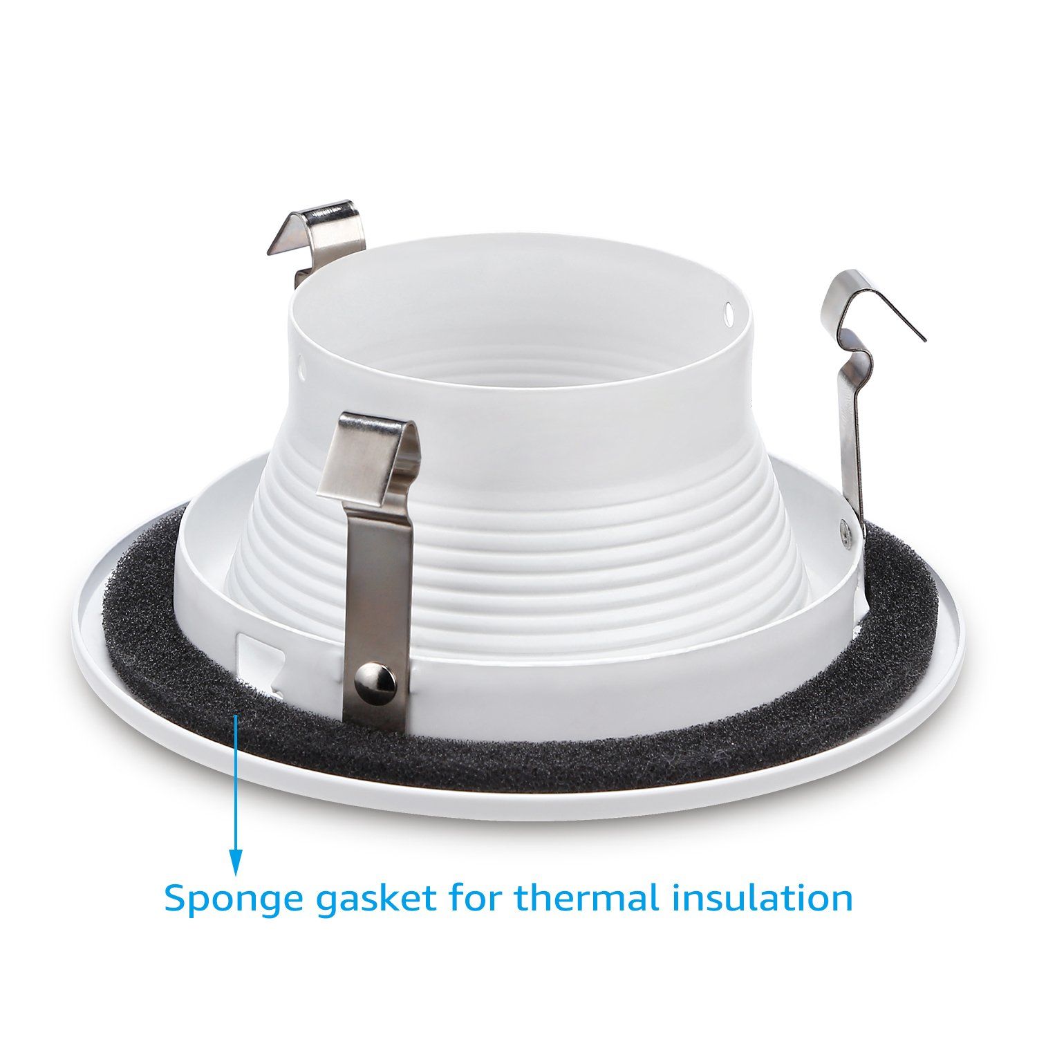 6 Pack 4 Inch Recessed Can Light Trim with White Metal Step Baffle, for 4 Inch Recessed Can, Fit Halo/Juno Remodel Recessed Housing, Line Voltage Available by TORCHSTAR (Image #5)