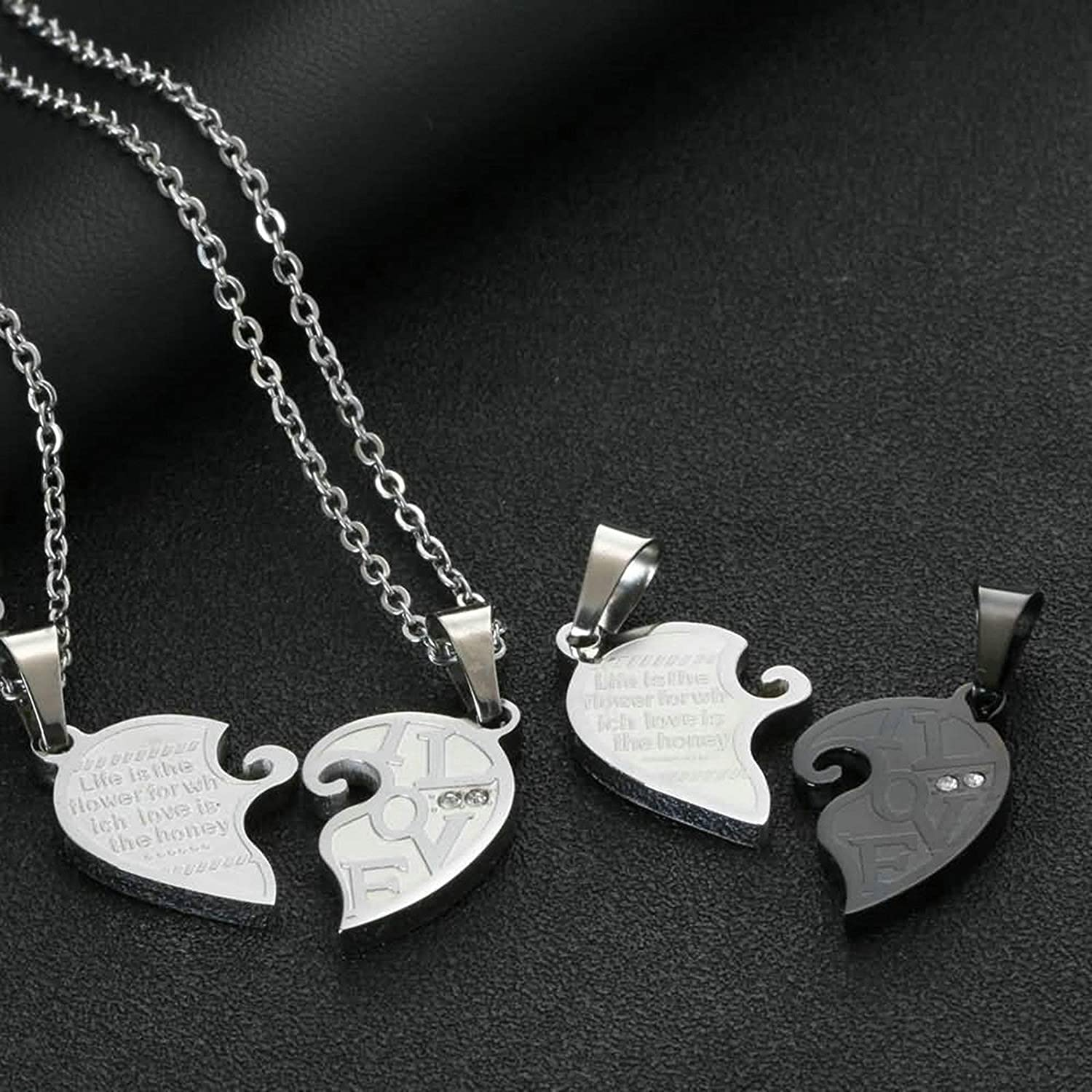for Couple Aooaz Necklace for Him and Her Love Heart Puzzle Cubic Zirconia Silver Blackcouple Necklaces for Him and Her Stainless Steel