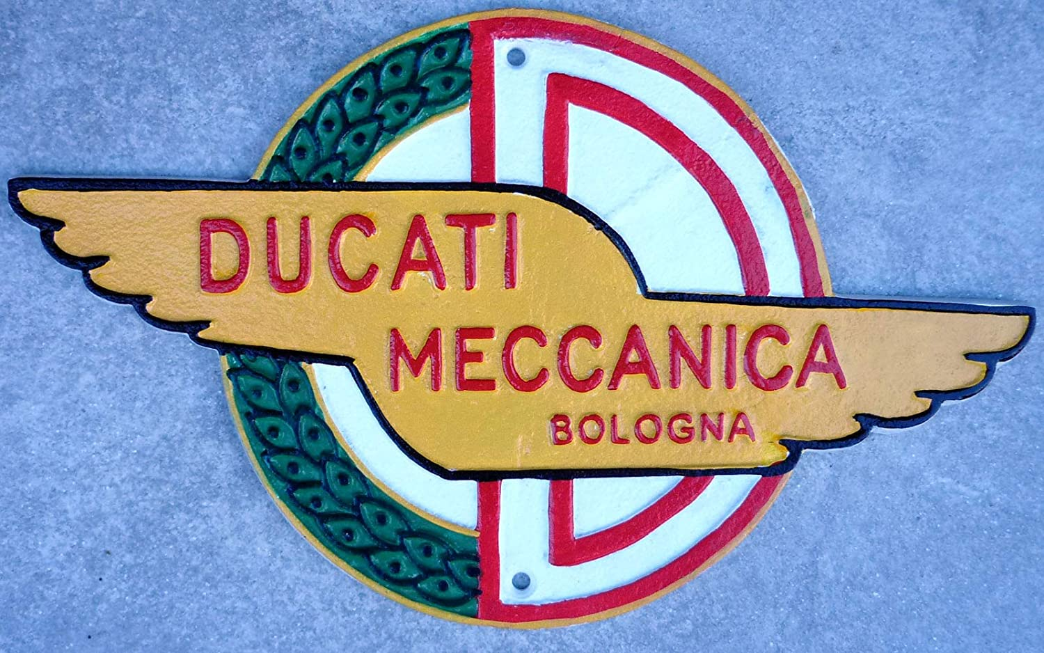 Ducati Motorcycle Sign Logo Badge Cast Iron Vintage Style Finish Hand Painted Garage Wall Plaque 30cm Italian Superbike MotoGP Man Cave Workshop CastIronSigns