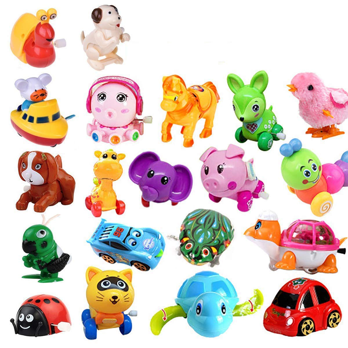 20 Pack Wind up Toys Assorted Mini Toy Animal for Children's Party Gifts Kids Birthdays Random Styles by Fstop Labs