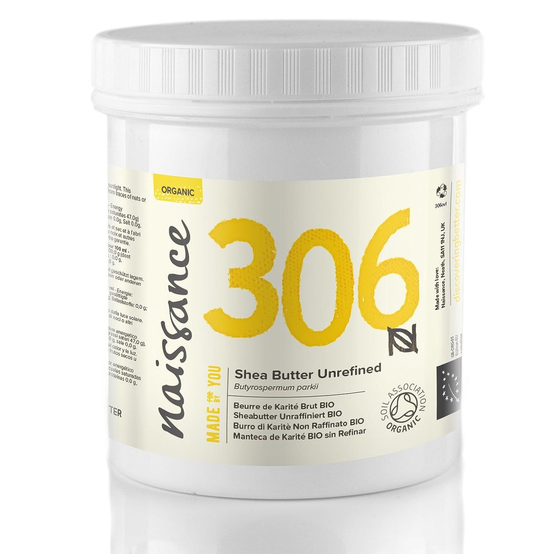 Naissance Sheabutter BIO (Nr. 306) 250g - rein und natürlich, unraffiniert, BIO zertifiziert, handgeknetet, vegan & parfümfrei - ethisch und nachhaltig hergestellt aus Ghana