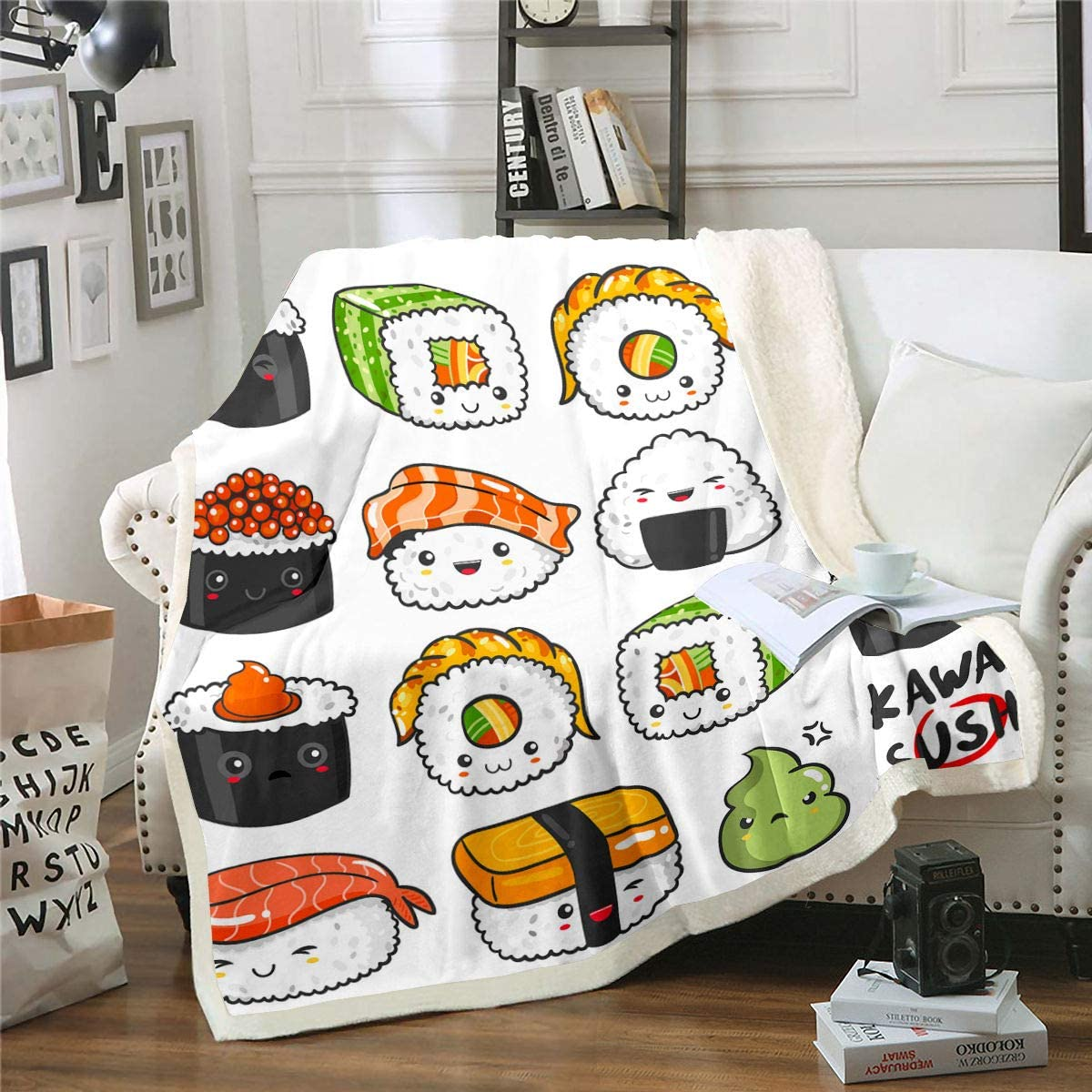 Erosebridal Sushi Pattern Flannel Blanket, Japanese Style Sherpa Blanket, Food Theme Throw Blanket for Kids Boys Girls Teens, Cute Cartoon Japanese Sushi Bed Blanket Throw 50