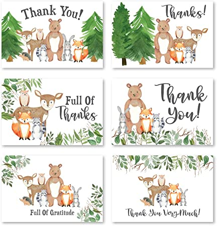 Woodland Forest Animals Campfire Camping Personalized Party Thank You Cards