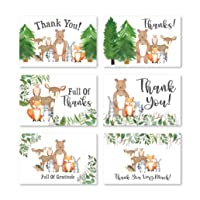 24 Woodland Thank You Cards With Envelopes, Kids or Baby Shower Thank You Note, Rustic Animal Deer or Fox, 4x6 Varied Gratitude Pack For Party, Birthday Boy or Girl Children, Appreciation Stationery