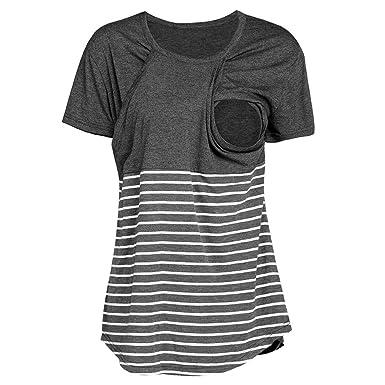 Damen Schwangere Umstandsmode Still-Tops Stillen T-Shirt Bluse Tops Mutterschaft