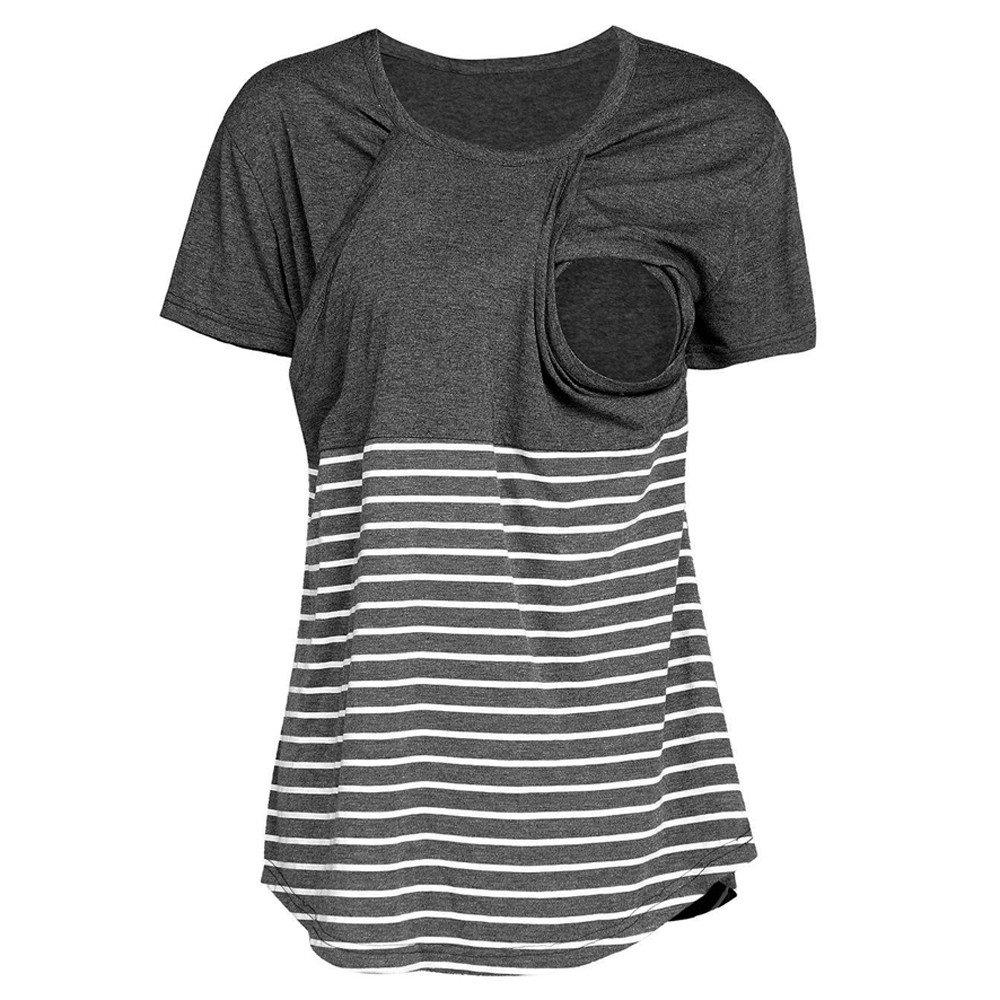 Women Short Sleeve Stripe Pregnant Blouse Casual Maternity Nursing Breastfeeding Top T-Shirt Tunics Blouses Dark Gray