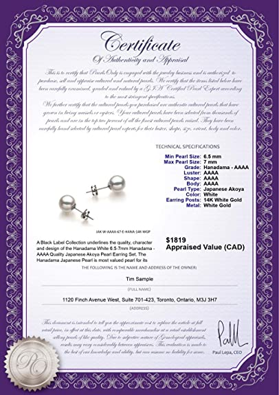 Amazon.com: White 6.5-7mm Hanadama - AAAA Quality Japanese Akoya 14K White Gold Cultured Pearl Earring Pair: Jewelry