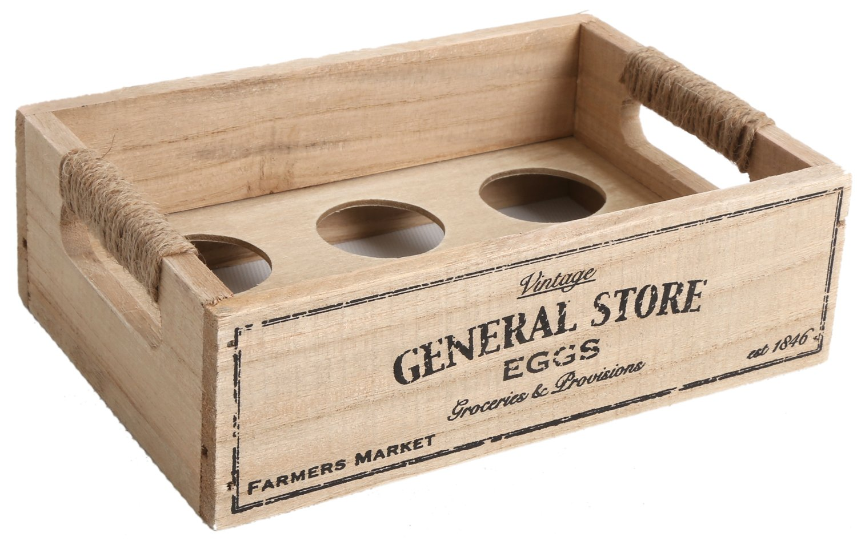 Vintage Design Wooden Egg Holder Tray Storage Crate Rack for 6 Eggs