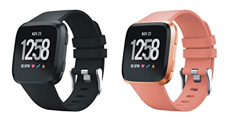XingWangFa for Fitbit Versa Straps Correas[2 Pack] Soft Silicone Sport Correa Replacement Strap For Fitbit Versa SmartWatch