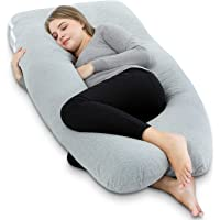 AngQi 55-inch Full Body Pregnancy Pillow, U Shaped Maternity Pillow for Back Pain Relief and Pregnant Women, with Washable Stretch Jersey Cover, Gray