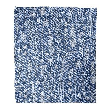 Astonishing Amazon Com Emvency Flannel Throw Blanket White Denim Floral Creativecarmelina Interior Chair Design Creativecarmelinacom