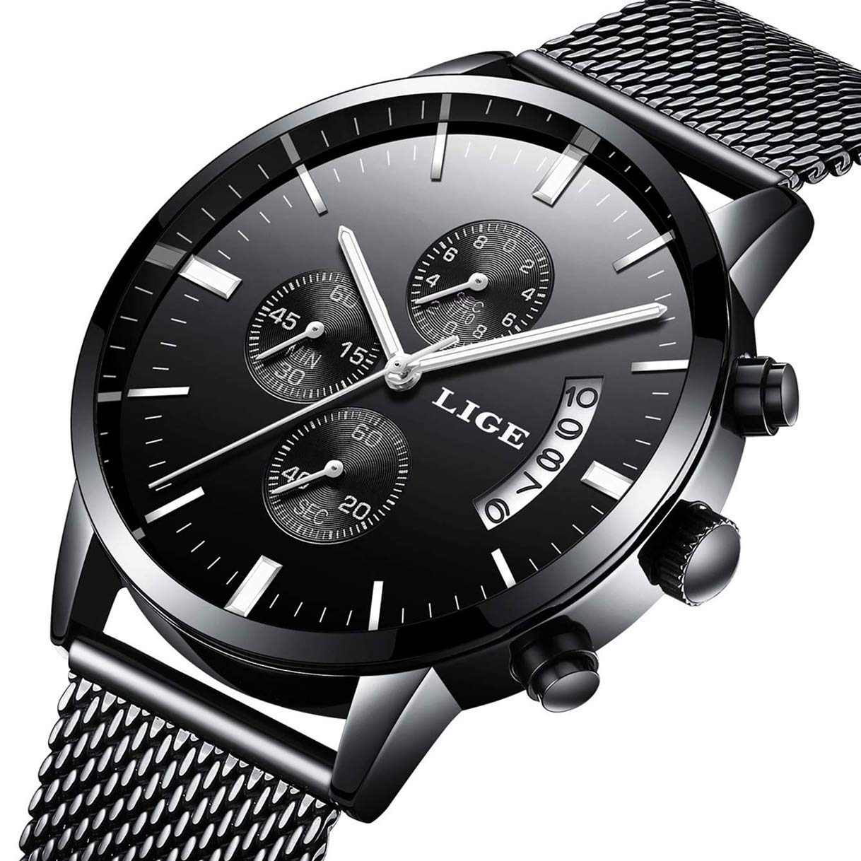 f979bddd7e Amazon.com: Watch Men Casual Stylish Stainless Steel Watch with Milanese  Mesh Band, Waterproof Black Multifunctional Watch for Men: Watches