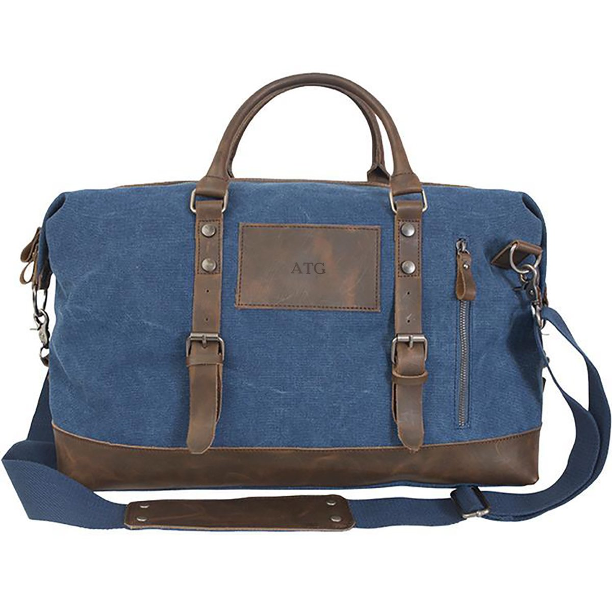 A Gift Personalized Personalized Blue Canvas and Leather Weekender Duffel Bag - Deboss