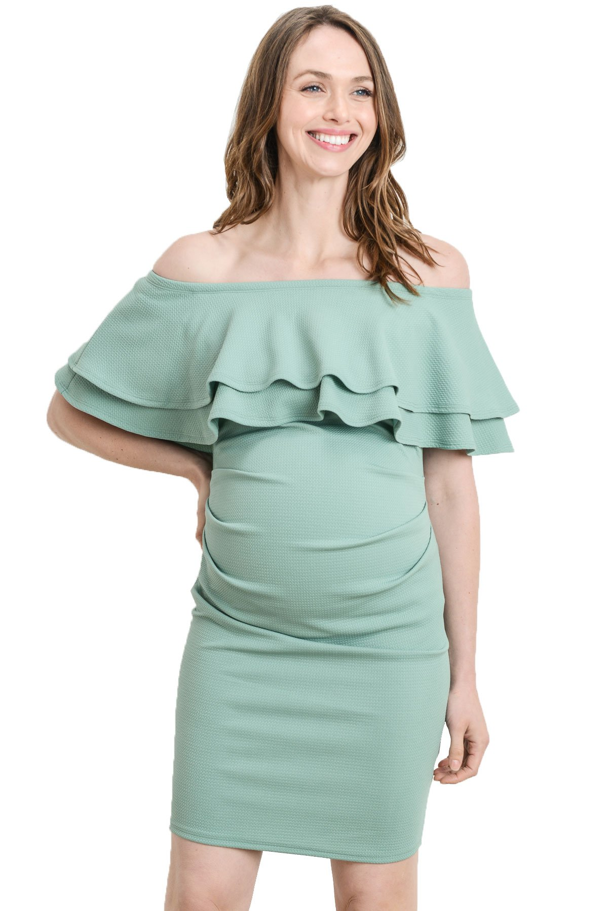 LaClef Women's Double Ruffled Fitted Off Shoulder Maternity Dress (Sage, Medium)