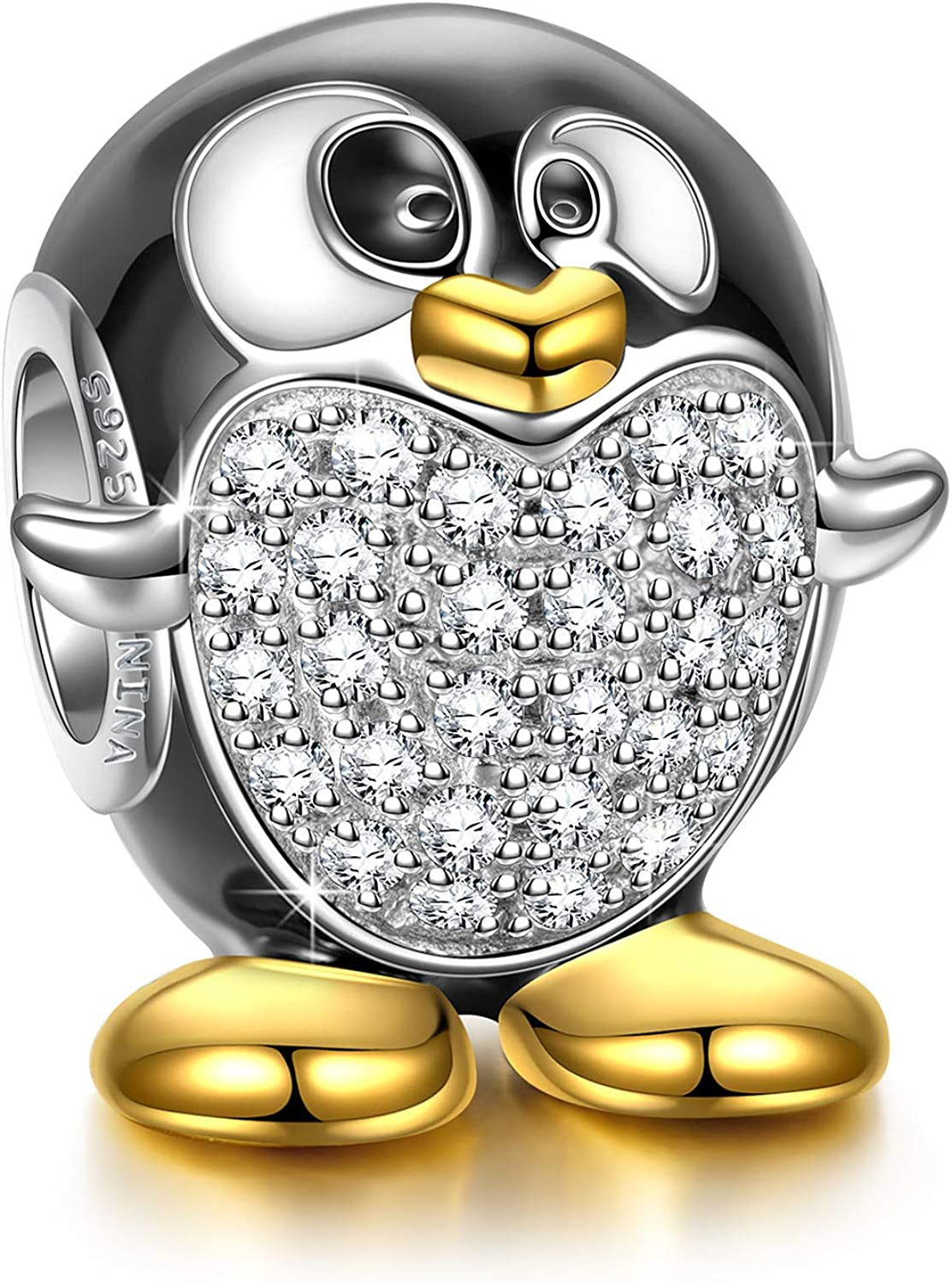 NINAQUEEN 925 Sterling Silver Penguin Gold Plated Bracelet Bead Charms Animal Fever Collocation with 5A Cubic Zirconia Fit Pandora European Bracelets