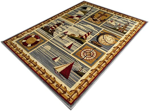 Area Rug Nautical Scene 7 Feet 7 Inch X 10 Feet 6 Inch