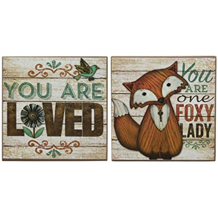Amazon.com: DG Home Goods Set Of 2 Box Signs Home Again Mom Quote ...