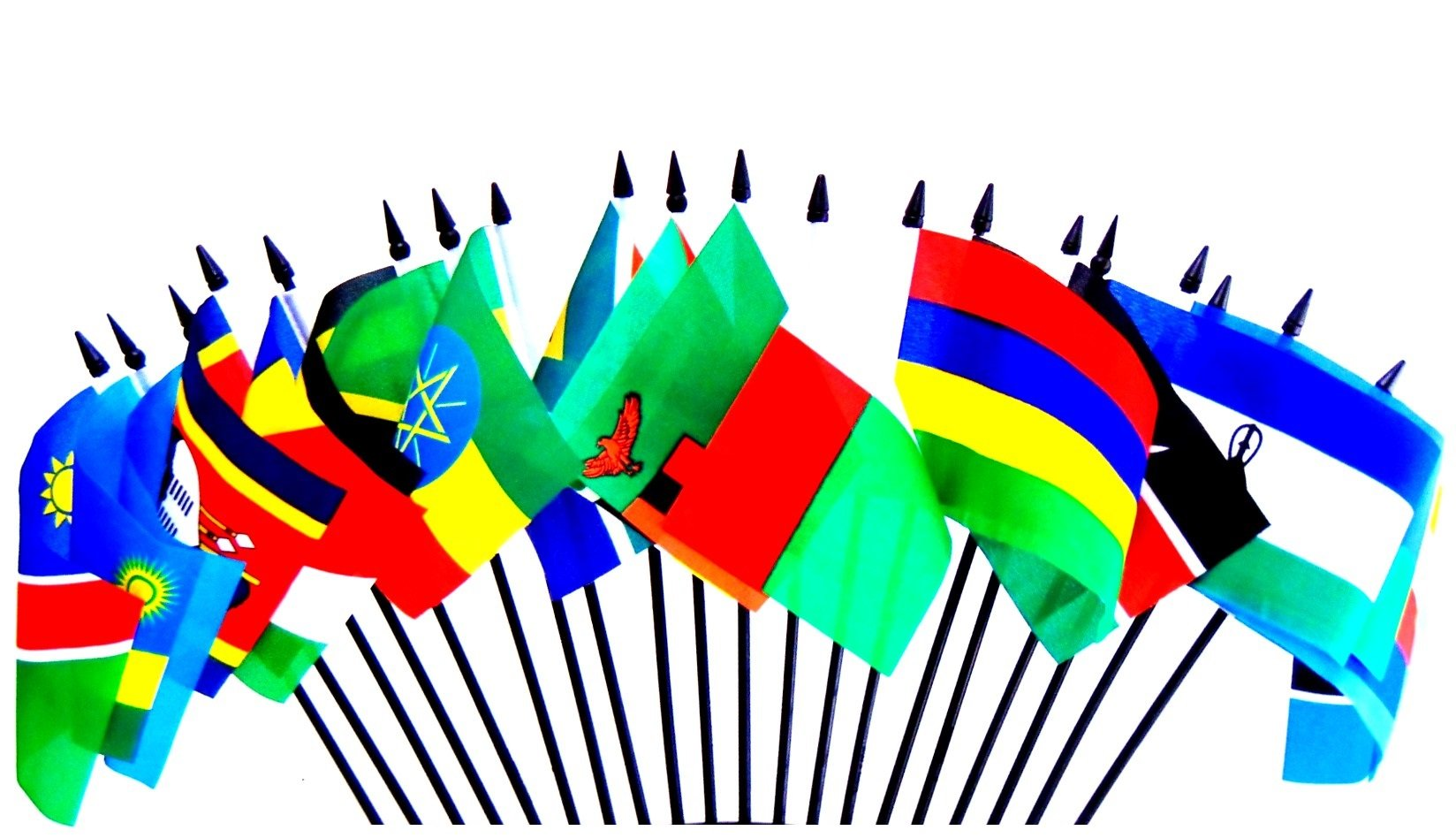 Southeast Africa World Flag SET-20 Polyester 4''x6'' Flags, One Flag for Each Country in Southeast Side of Africa, 4x6 Miniature Desk & Table Flags, Small Mini Stick Flags