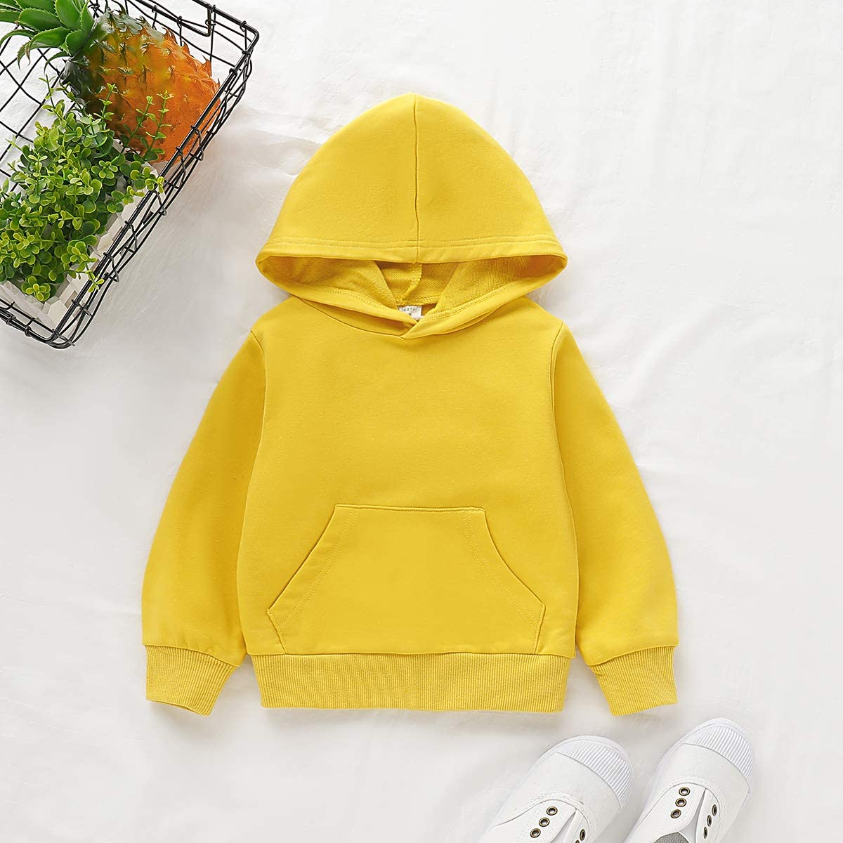 Toddler Kids Baby Boy Girl Long Sleeve Basic Solid Hoodie Pullover Sweatshirt Sports Tops with Pockets Outfits