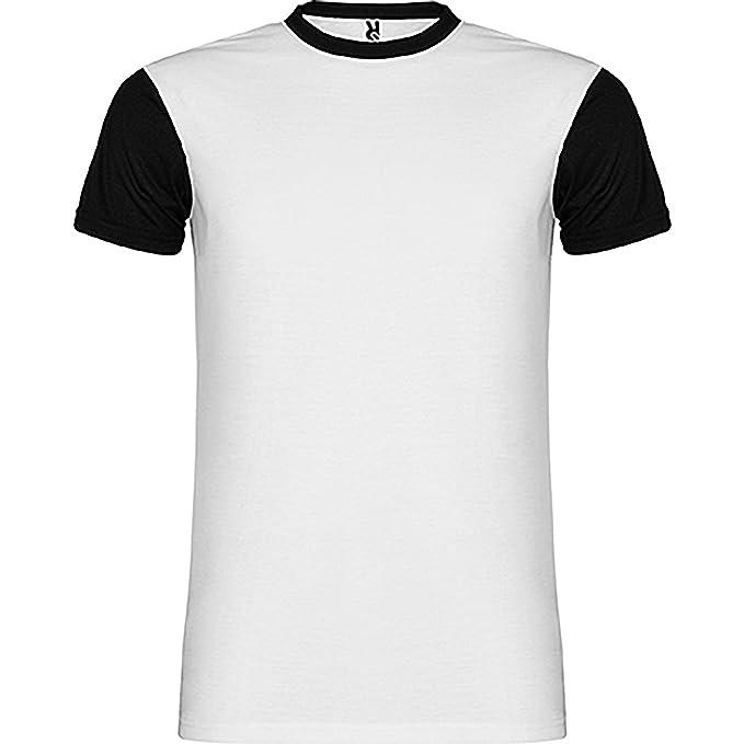Camiseta manga corta, cuello redondo a caja viveado en contraste color negro del mismo tejido