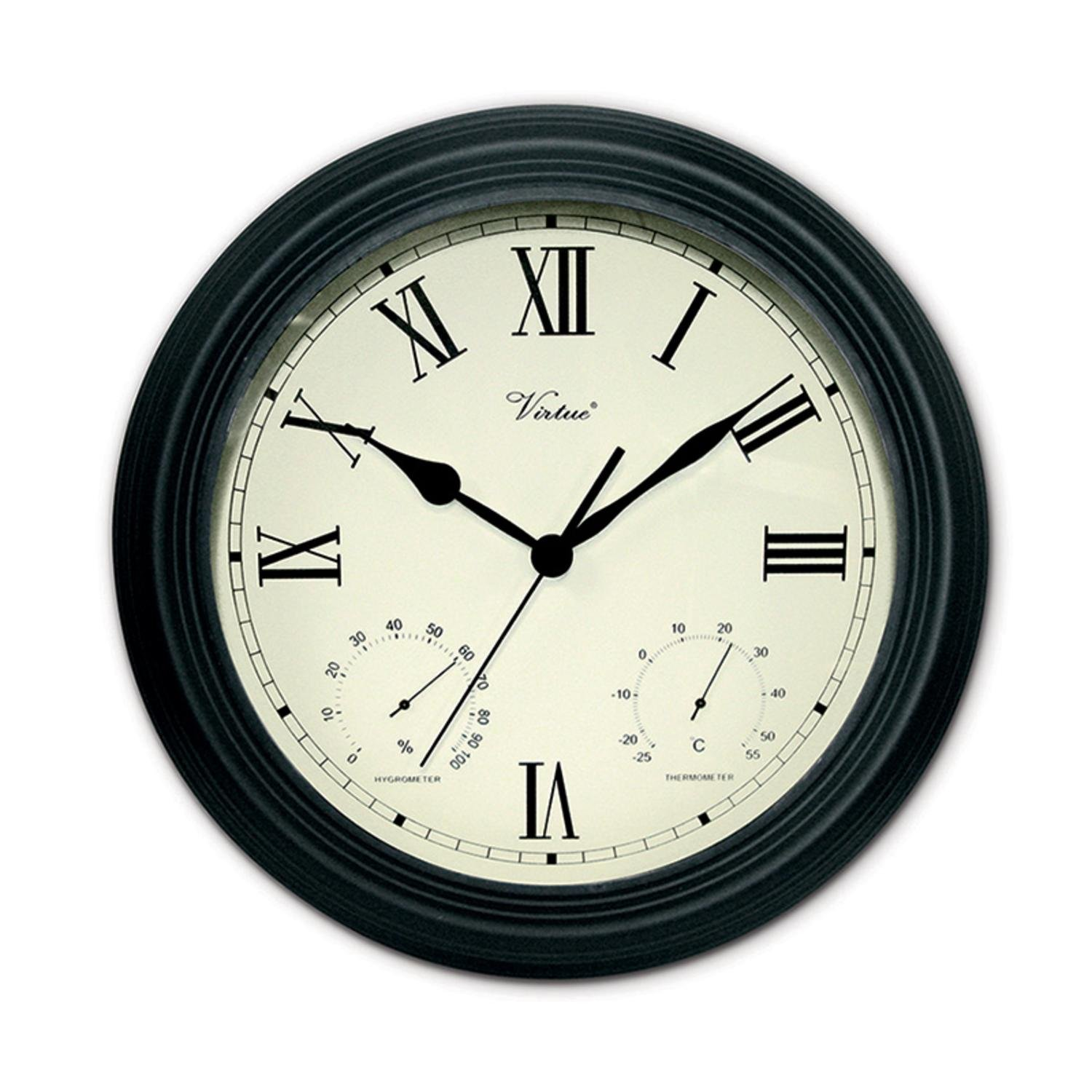Swim Central 12'' Battery Operated Black Large Print Roman Numeral Outdoor Clock, Thermometer and Hygrometer