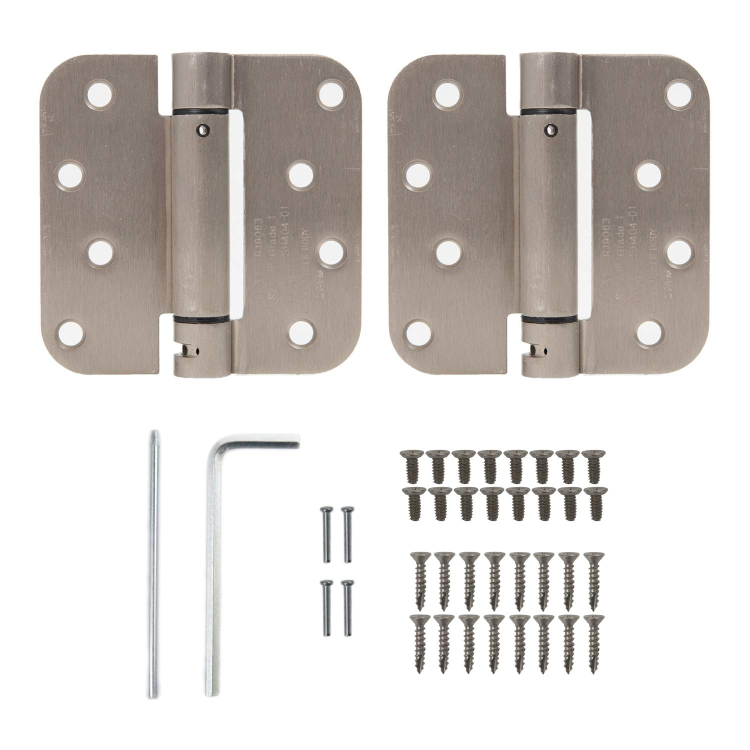 """Houseables Self Closing Door Hinges, Mortise Spring Hinge, 5/8"""" Radius Corner, 4"""" x 4"""", 2 Pack, 2.7 MM, Satin Nickel Finish, Automatic Closer, Adjustable, Tension Loaded, Auto Close Pin, Heavy Duty"""