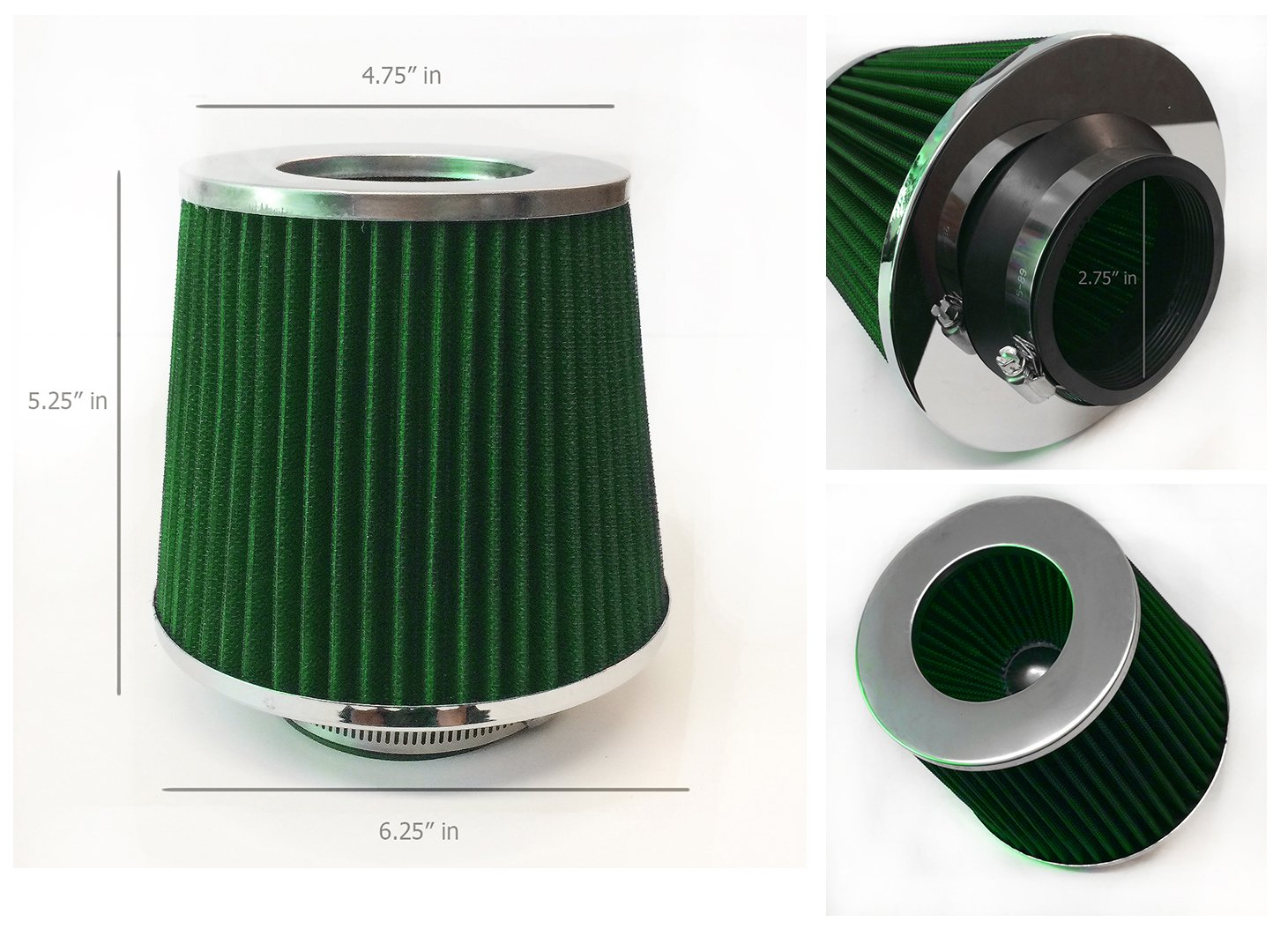 Short Ram Cold Air Intake Chrome Top Cone Air Filter Universal 70mm 2.75, Green 2.75 Inlet