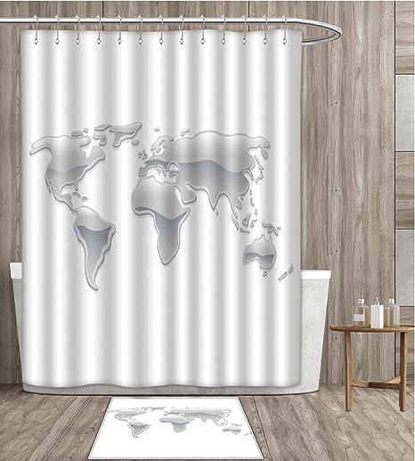 Wanderlust decor shower curtain waterproof graphic design of world wanderlust decor shower curtain waterproof graphic design of world map made with liquid droplets mercury foming gumiabroncs Gallery